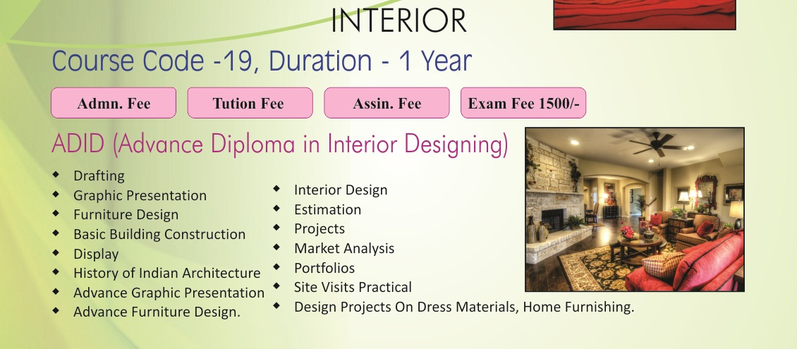 ADID Advance Diploma In Interior Designing